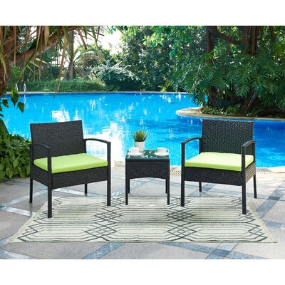 Kobe 3 Piece Lounge Seating Group with Cushion Fabric: Green