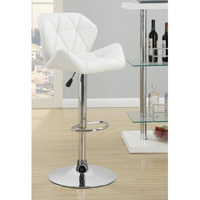 Bairnsdale Adjustable Height Swivel Bar Stool Upholstery: White