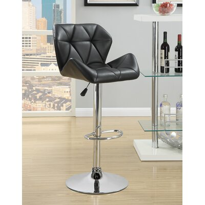 Bairnsdale Adjustable Height Swivel Bar Stool Upholstery: Black