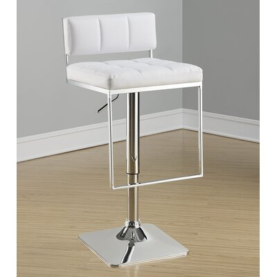 Braeden Adjustable Height Bar Stool Upholstery: White