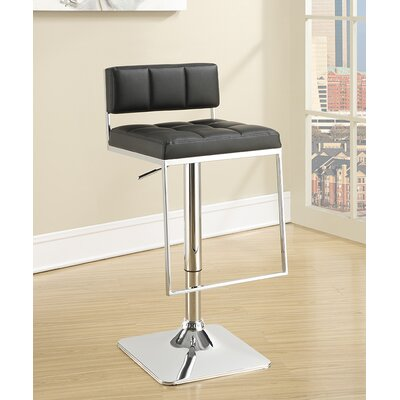 Braeden Adjustable Height Bar Stool Upholstery: Black