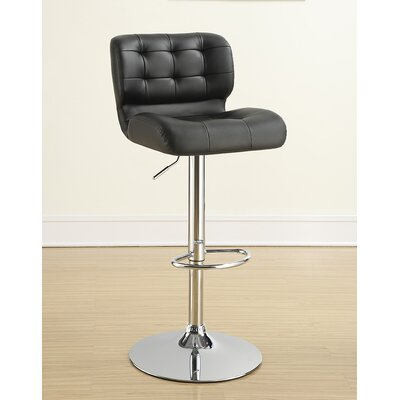 Solok Adjustable Height Bar Stool Upholstery: Black