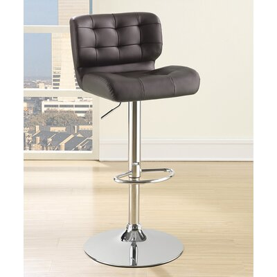 Solok Adjustable Height Bar Stool Upholstery: Brown