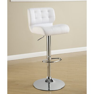 Rada Adjustable Height Swivel Bar Stool Upholstery: White