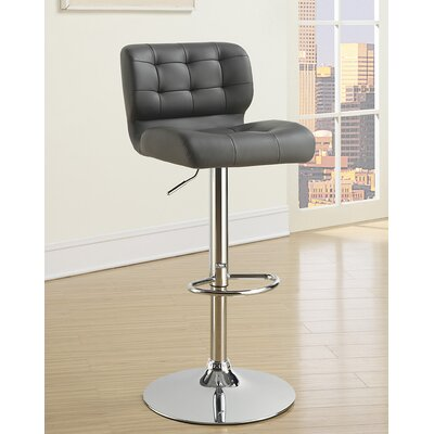 Rada Adjustable Height Swivel Bar Stool Upholstery: Gray