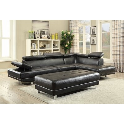 Leo Sectional Upholstery: Faux Leather-Black