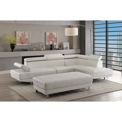 Askins Sectional Upholstery: Faux Leather-White