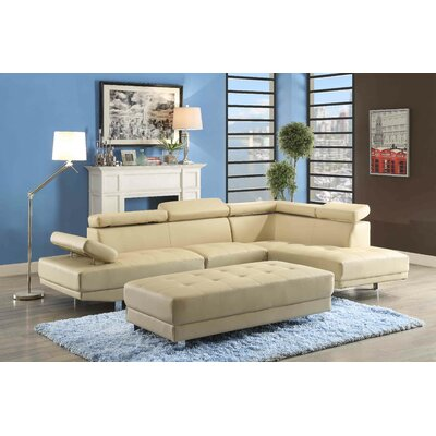 Leo Sectional Upholstery: Faux Leather-Beige