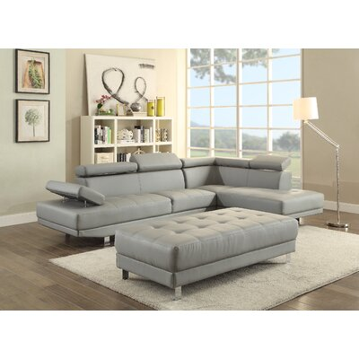 Blangkejeren Sectional Upholstery: Faux Leather-Gray