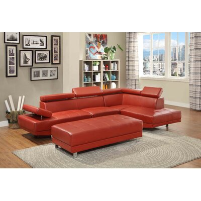 Leo Sectional Upholstery: Faux Leather-Red