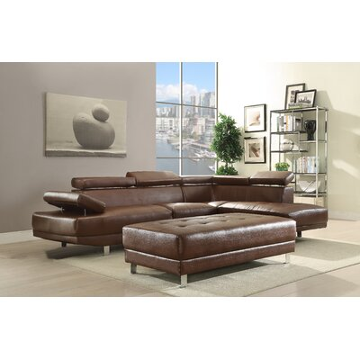 Blangkejeren Sectional Upholstery: Faux Leather-Brown