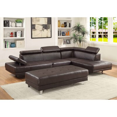 Askins Sectional Upholstery: PU-Brown