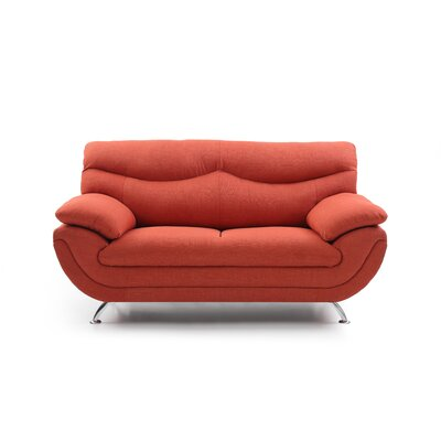 Xamiera Standard Loveseat Color: Orange