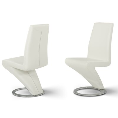 Belafonte Genuine Leather Upholstered Dining Chair Upholstery: White