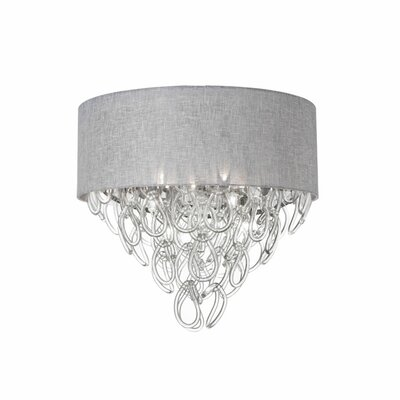 Puppis 4-Light Glass Shade Flush Mount Shade Color: Gray