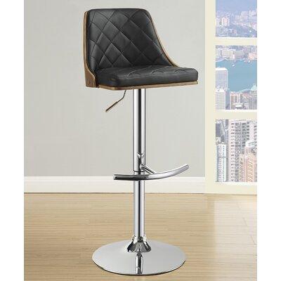 Rita Adjustable Height Swivel Bar Stool Upholstery: Black