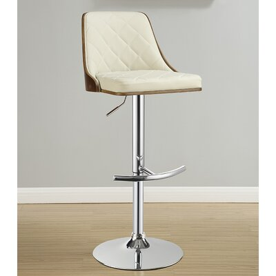Rita Adjustable Height Swivel Bar Stool Upholstery: Ecru