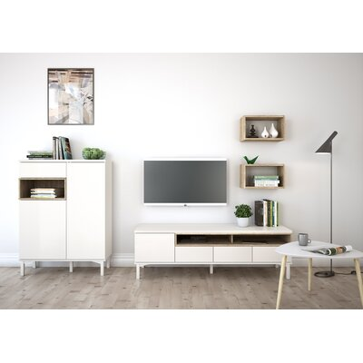 Boggess 61 TV Stand Color: White/Oak