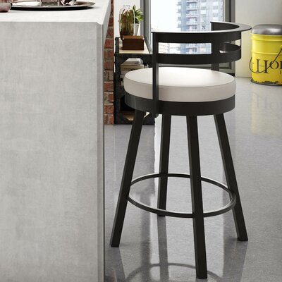 Brookford 26.63 Swivel Bar Stool Finish: Textured Dark Brown/Beige