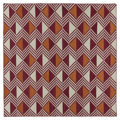 Cory Red Geometric Area Rug Rug Size: Square 8