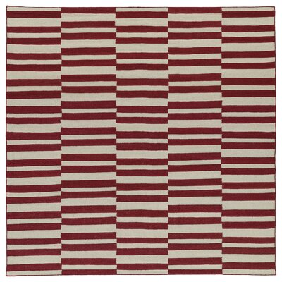 Cory Red/Tan Geometric Area Rug Rug Size: Square 8
