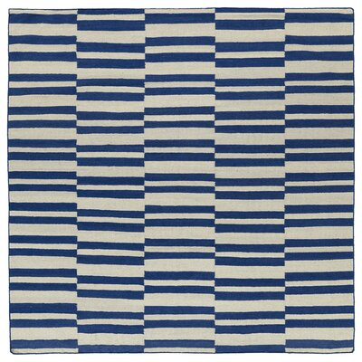 Cory Geometric Navy/Ivory Area Rug Rug Size: Square 8