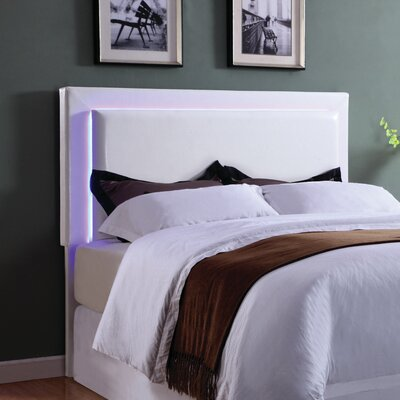 Kehl LED Upholstered Panel Headboard Size: King/California King