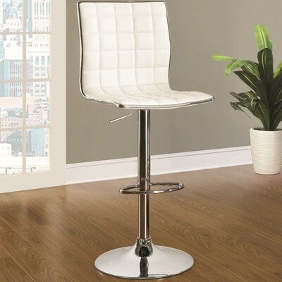 Iancarlo Adjustable Height Bar Stool Finish: White