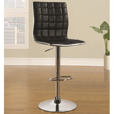 Iancarlo Adjustable Height Bar Stool Finish: Black