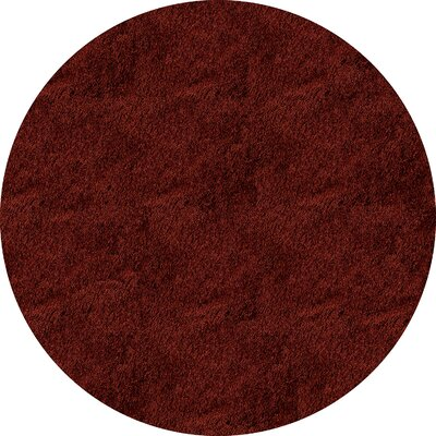 Leah Hand-Tufted Brick Area Rug Rug Size: Round 4