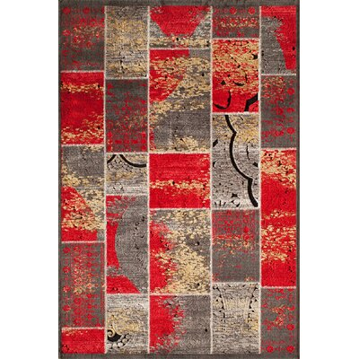 Charleena Red Geometric Area Rug Rug Size: Rectangle 3'2