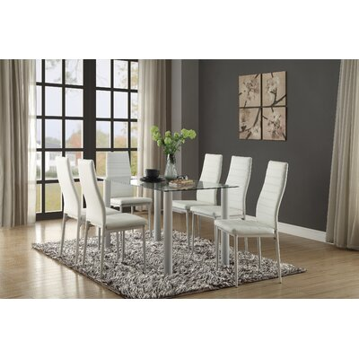 Aubree Dining Table Finish: Clear/White