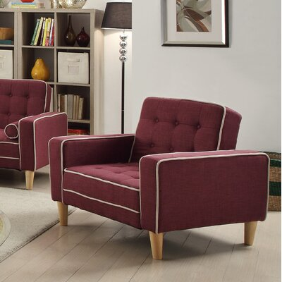 Navi Twill Armchair Upholstery: Berry