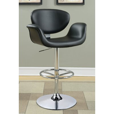 Lydia Adjustable Height Swivel Bar Stool Upholstery: Black