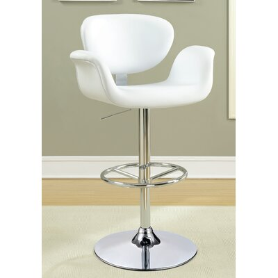 Lydia Adjustable Height Swivel Bar Stool Upholstery: White
