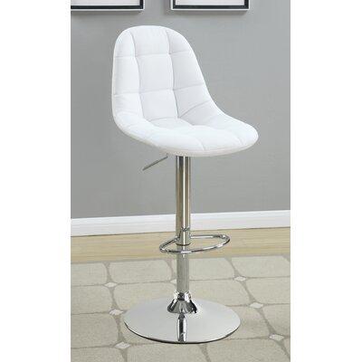 Jocelyn Adjustable Height Swivel Bar Stool Upholstery: White