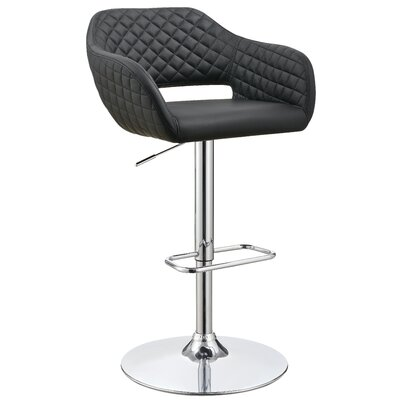 Mariah Adjustable Height Swivel Bar Stool Upholstery: Black