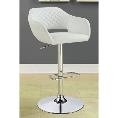 Mariah Adjustable Height Swivel Bar Stool Upholstery: White