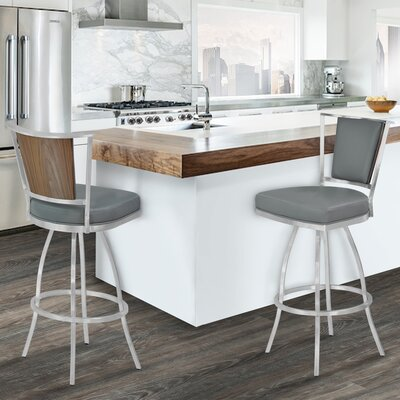 Borrelli 30 Swivel Bar Stool Upholstery: Gray