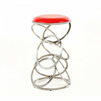 Clower 29 Bar Stool Seat Color: Red