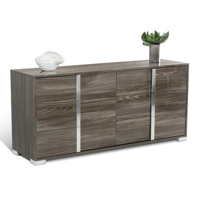 6 Drawer Dresser with 2 Nightstands Color: Gray