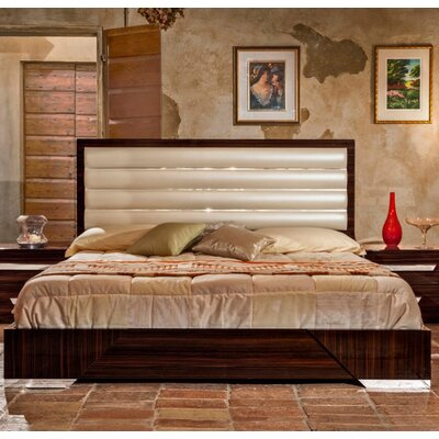 Camron Modern Upholstered Wood Framed Panel Bed Size: Queen