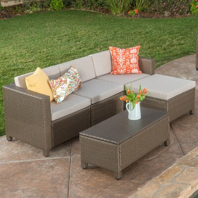 Adonis 9 Piece Deep Seating Group with Cushion Cushion Color: Light Brown