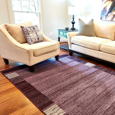 Croslin Purple Area Rug Rug Size: Round 6