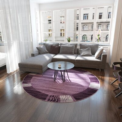 Croslin Purple Area Rug Rug Size: Round 8