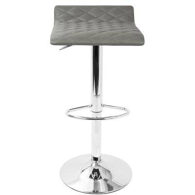 Morgana Adjustable Height Swivel Bar Stool Upholstery: Gray