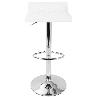 Morgana Adjustable Height Swivel Bar Stool Upholstery: White