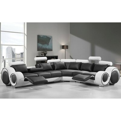 Alsatia Sectional Upholstery: Black/White