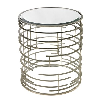 Juliana Contemporary Sculptural Metal Work Side Table with Glass Top