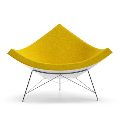 Kinsley Side Chair Upholstery: Yellow Fabric, Finish: White Gloss